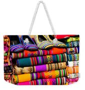 Colorful Fabric At Market In Peru Weekender Tote Bag