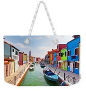Colorful Houses And Canal On Burano Island Near Venice Italy Weekender Tote Bag