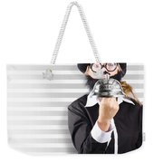 Comic Business Man Holding Big Service Bell Weekender Tote Bag