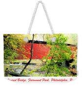 Covered Bridge In Autumn Fairmount Park Philadelphia Weekender Tote Bag