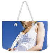 Cowgirl In Dress And Hat Weekender Tote Bag