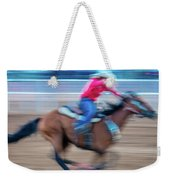 Cowgirl Rides Fast For Best Time Weekender Tote Bag
