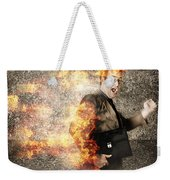 Crazy Businessman Running Engulfed In Fire. Late Weekender Tote Bag