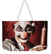 Crazy Medical Clown Holding Oversized Syringe Weekender Tote Bag