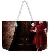 Creepy Woman With Bloody Scissors In Haunted House Weekender Tote Bag