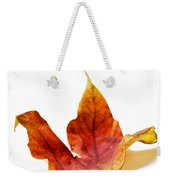 Curled Autumn Leaf Isolated On White Weekender Tote Bag