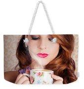 Cute Brunette Woman Drinking Hot Coffee Indoors Weekender Tote Bag