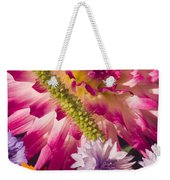 Dahlia Zinnia Bachelor's Buttons Flowers Weekender Tote Bag