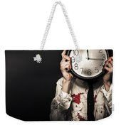 Dead Business Person Holding End Of Time Clock Weekender Tote Bag
