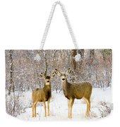 Deer In The Snowy Woods Weekender Tote Bag