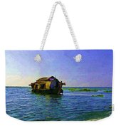 Digital Oil Painting - A Houseboat Moving Placidly Through A Coastal Lagoon In Alleppey Weekender Tote Bag