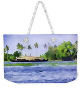 Digital Oil Painting - A Houseboat On Its Quiet Sojourn Through The Backwaters Of Allep Weekender Tote Bag