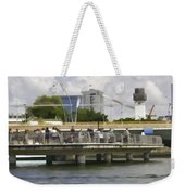 Digital Oil Painting - Visitors On Viewing Plaza On Singapore River Next To The Merlion Weekender Tote Bag