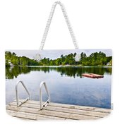 Dock On Calm Lake In Cottage Country Weekender Tote Bag