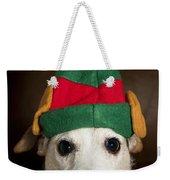 Dog Wearing Elf Ears, Christmas Portrait Weekender Tote Bag