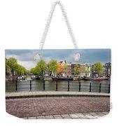 Dutch Houses By The Amstel River In Amsterdam Weekender Tote Bag