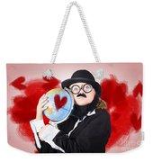 Eccentric Man Showing World Love By Cuddling Globe Weekender Tote Bag