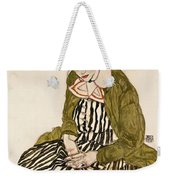 Edith With Striped Dress Sitting Weekender Tote Bag