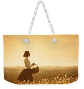 Edwardian Woman In A Meadow At Sunset Weekender Tote Bag