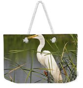 Egret In The Cattails Weekender Tote Bag