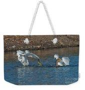 Egrets Robbing A Cormorant Weekender Tote Bag
