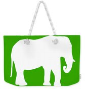 Elephant In Green And White Weekender Tote Bag