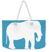 Elephant In White And Turquoise Weekender Tote Bag