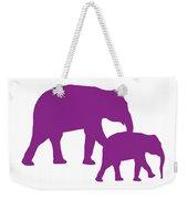 Elephants In Purple And White Weekender Tote Bag