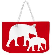 Elephants In Red And White Weekender Tote Bag