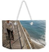 Elevated Perspective Of Woman Riding Weekender Tote Bag