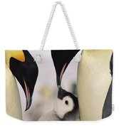 Emperor Penguin Parents With Chick Weekender Tote Bag