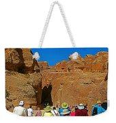 Entering Mile-long And 600 Foot High Gorge Leading To Treasury In Petra-jordan  Weekender Tote Bag