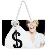 Euphoric Business Woman Holding Unexpected Windfall Weekender Tote Bag