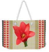 Exotic Red Tulip In Bold And Two Border Patterns Tiny Sparkle Parallal Horizontal Strips Summer Flow Weekender Tote Bag