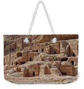 facade street in Nabataean ancient town Petra Weekender Tote Bag by Juergen Ritterbach