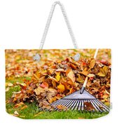 Fall Leaves With Rake Weekender Tote Bag