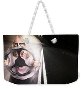 Fast Business Woman Driving Car With Light Trails Weekender Tote Bag