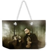 Father And Son In Gasmask. Nuclear Terror Attack Weekender Tote Bag