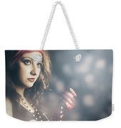 Female Fashion Model Holding Jewelry Necklace Weekender Tote Bag