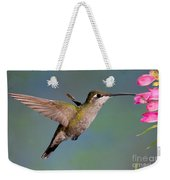 Female Magnificent Hummingbird At Flower Weekender Tote Bag