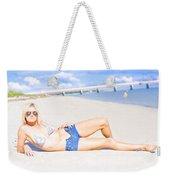 Female Vacationer Relaxing At Tropical Paradise Weekender Tote Bag