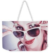 Fifties Glamor Girl Wearing Retro Pin-up Fashion Weekender Tote Bag