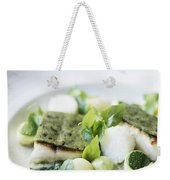 Fish Fillet With Herb Topping And Vegetables Weekender Tote Bag