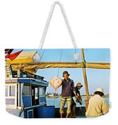 Fisherman With A Skate On Thu Bon River In Hoi An-vietnam  Weekender Tote Bag