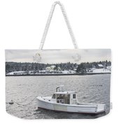 Fishing Boat After Snowstorm In Port Clyde Harbor Maine Weekender Tote Bag