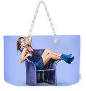 Full-length Portrait. Lovely Woman In Denim Dress Weekender Tote Bag