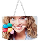Fun Party Girl With Balloons In Mouth Weekender Tote Bag