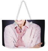 Funny Female Business Nerd With Big Geeky Smile Weekender Tote Bag