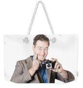 Funny Man Gesturing Big Smile With Vintage Camera Weekender Tote Bag