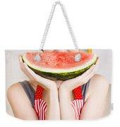 Funny Woman With Juicy Fruit Smile Weekender Tote Bag